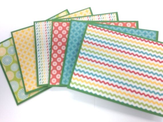Colorful Note Cards Thank You Notes Green by AnniesPaperGarden