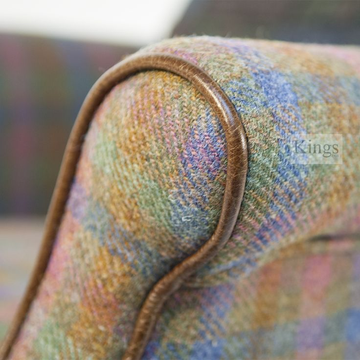 Detail of Tetrad's Bowmore chair in Spring Check Harris Tweed with leather piping.  http://www.kingsinteriors.co.uk/brands/tetrad-harris-tweed/tetrad-harris-tweed-bowmore-chair