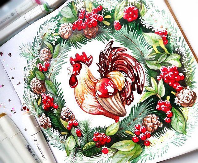 Венок из еловых ветвей один самых самых новогодних символов, а комании с керамическим петушком еще краше!)) #петух #венок #венокновогодний #символгода2017 #новыйгод #рождество #петушок #зима #merrychristmas #newyear #rooster #christmaswreath #wreath #lk_newyear #winter #magic
