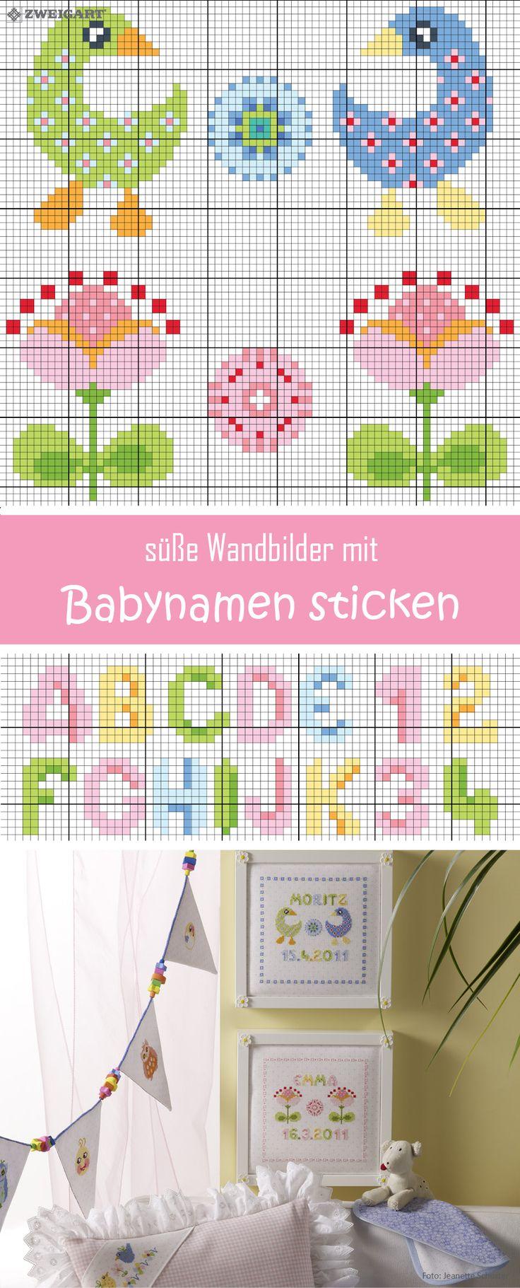 Baby-Wandbilder mit Namen & Geburtsdatum für Mädchen & Jungs sticken #Sticken #Kreuzstich / #Baby; #Embroidery #Crossstitch / #baby / #ZWEIGART