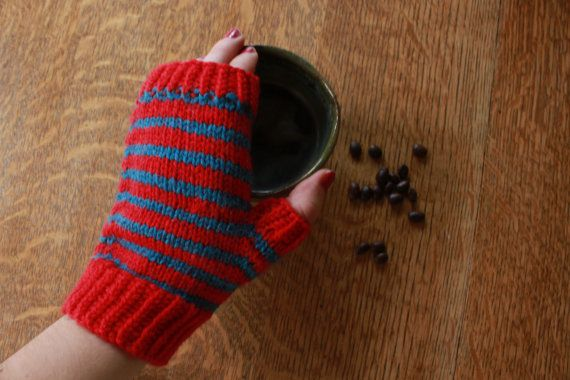 ON SALE  Red and blue striped fingerless by SoppyKnitsStuff