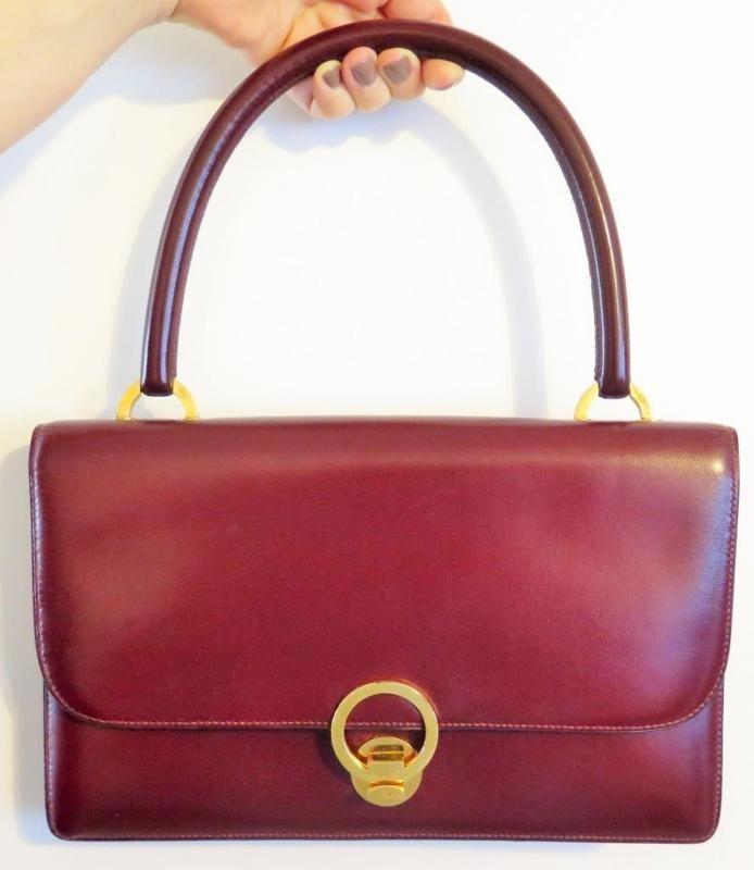 cf55e7d406 Vintage Hermes Burgundy Courcheval Leather Sac Ring Handbag