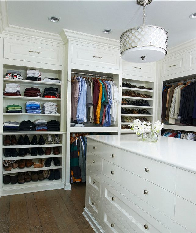 Closet with Island Design. Great walk-in closet with island. #Closet #Island #Interiors