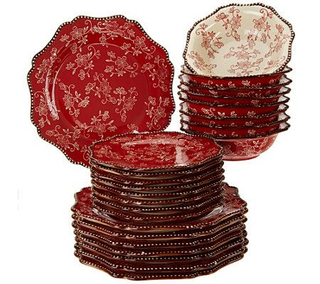Temp Tations Floral Lace 24 Piece Dinnerware Service For 8