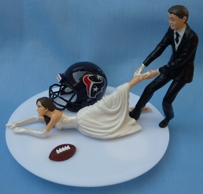 Wedding Cake Topper - Houston Texans Football Themed Bride...hahahaha, love this! Don't take me away from watching my Texans! :)