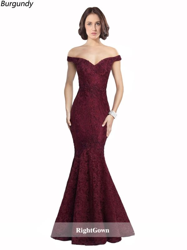 Spring Trends Mermaid Off the Shoulder Long Lace Sleeveless Burgundy Prom  Dresses 206030 for Girl  0799b5ad8