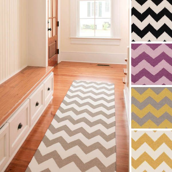 Hand-woven Evreux Flatweave Chevron Wool Runner (2'6 x 8') | Overstock.com Shopping - The Best Deals on Runner Rugs