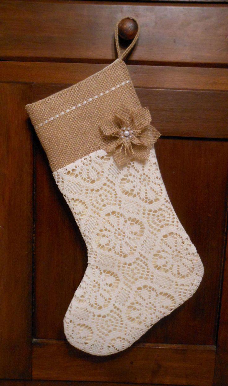Burlap Christmas Stocking. Burlap and Lace Christmas Stocking. Burlap Flower. Rustic Christmas by ThimblefulThreads on Etsy