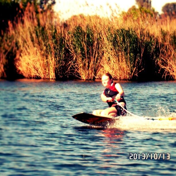 Knee boarding at the Vaal