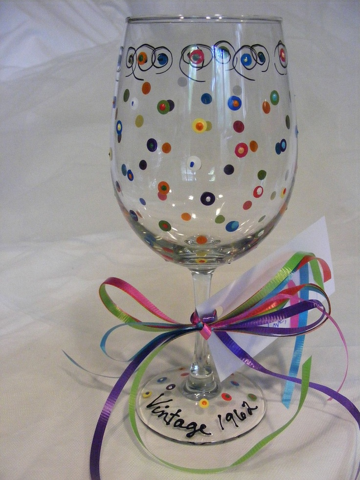 birthday wine glass with polka dots can be by DelightfulFinds