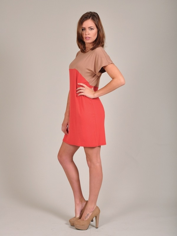 Diligo caramel and burnt orange colour block tunic | www.diligo.co.za
