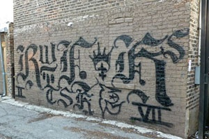 Whoever got down on this wall for the Almighty Latin Kings gang needs to quit banging and get paid for their talents. Pretty dahm good, with a stock tip too!
