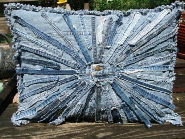 Kissenhüllen aus Jeans kissenbezüge reste