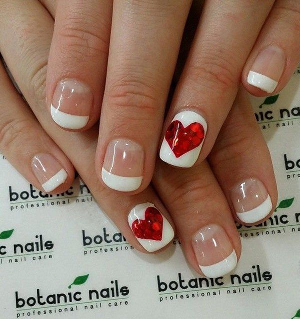 Here's a much more simpler design for you. It's perfect when you haven't got much time to prepare and paint your nails well. All it takes is a clean and simple French tip on four fingers and a heart design on both your ring fingers.