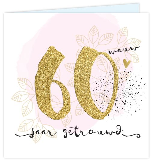 Eerdaags jullie 60 jarig huwelijks jubileum feest geven? Romantische uitnodiging met goud gekleurde cijfers (geen echt goud inkt), watercolor, spetters en sierlijke lettertypes. Enveloppen zijn los bij te bestellen. Gratis verzending in Nederland en België.