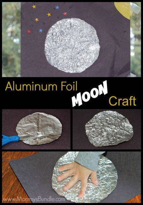 Aluminum foil moon craft: an easy and unique sensory experience for toddlers and preschoolers.