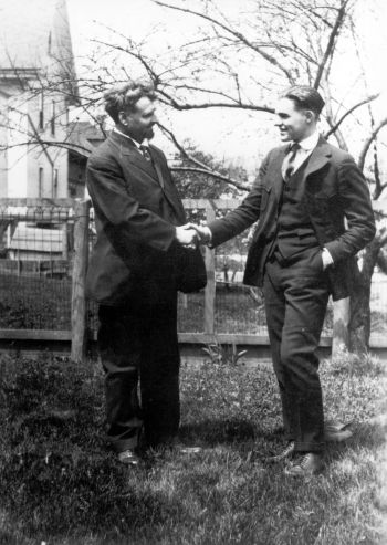 Ernest Hemingway and his father Clarence outside their house in Oak Park, Illinois; ca. 1918