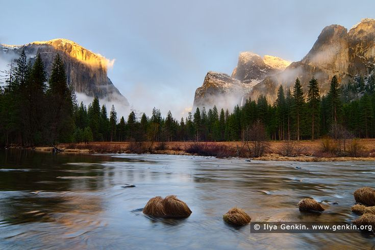 El Capitan Over the Merced River, Gates of the Valley, Yosemite Valley, Yosemite National Park, California, USA. Winter sunset on El Capitan and the Merced River at Gates of the Valley in Yosemite National Park, California. The Gates of the Valley is a very popular and picturesque lookout.