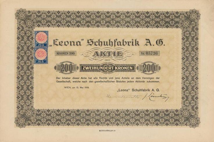 LEONA, Schuhfabrik A.G. (LEONA, továrna na obuv akc. spol., Sezemice). Akcie na 200 Korun. Videň, 1918.