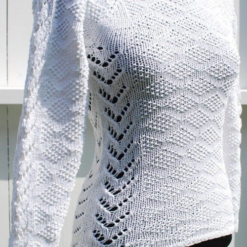 Knitted lace cotton sweater for girls and women