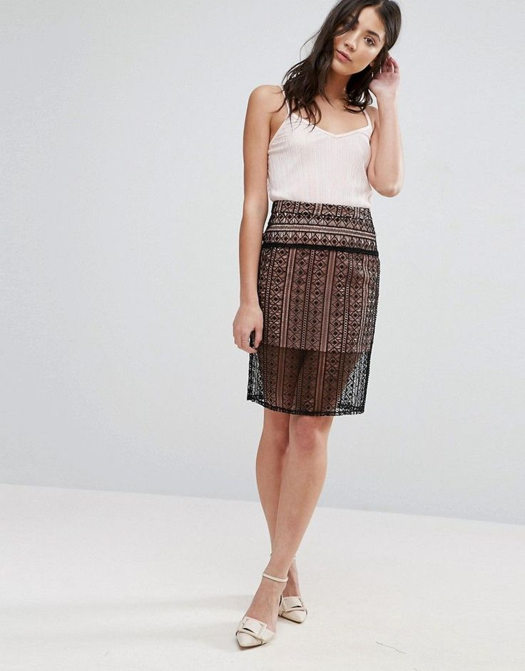 The English Factory Laser Cut Pencil Skirt - Black
