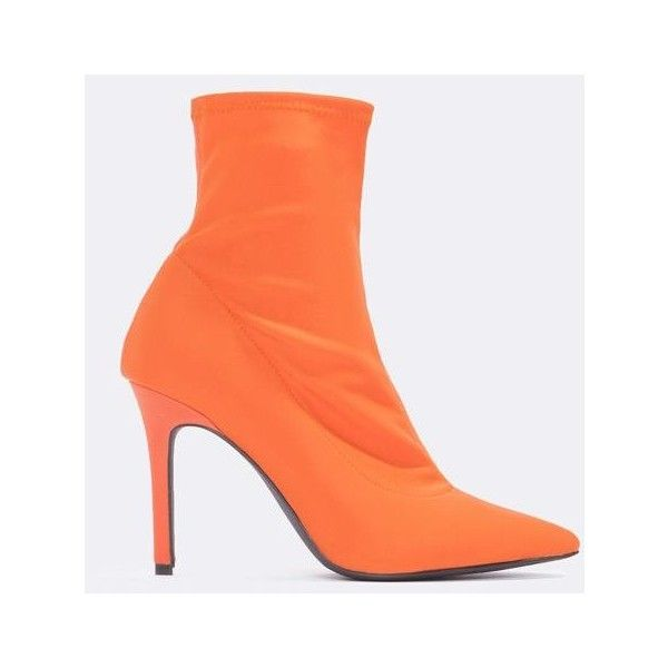 NA-KD Shoes High Heel Sock Boot (4.150 RUB) ❤ liked on Polyvore featuring shoes, boots, orange, high heel boots, pointed toe stiletto boots, high heeled footwear, pointed toe stilettos and stiletto heel boots