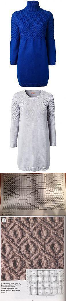Французская мозаика от Кашарель, свитер и платье спицами.