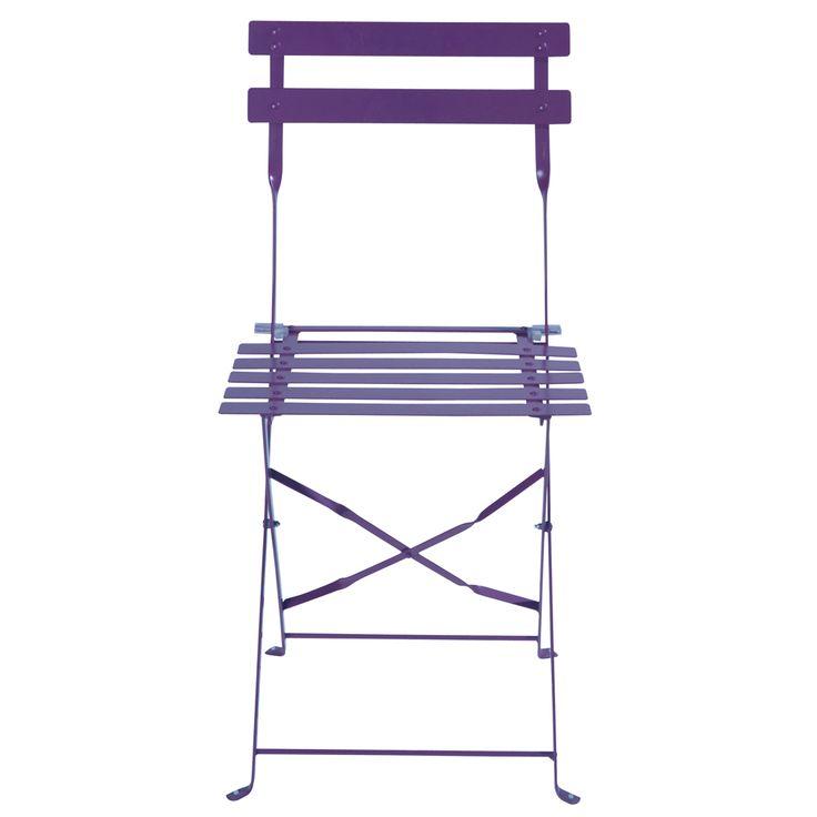 2 chaises pliantes de jardin en métal violettes Confetti