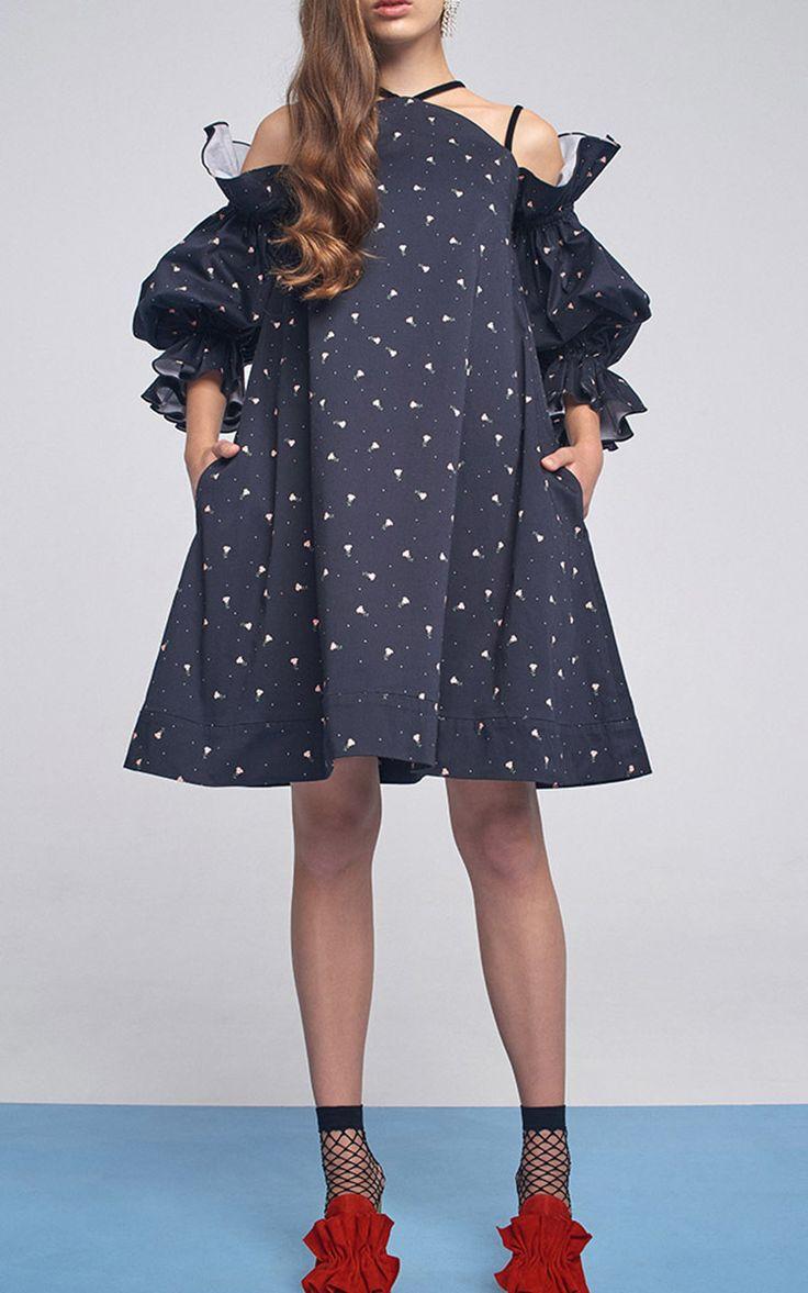 Exposed Shoulder Puff Sleeve Mini Dress by MARIANNA SENCHINA for Preorder on Moda Operandi