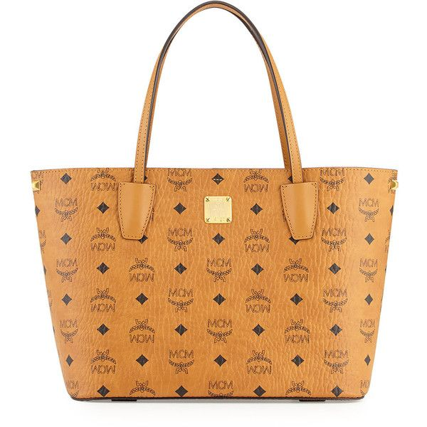 MCM Shopper Project Visetos Shopper Bag ($625) ❤ liked on Polyvore featuring bags, handbags, tote bags, cognac, beige purse, accessories handbags, beige tote, monogram tote and coated canvas tote