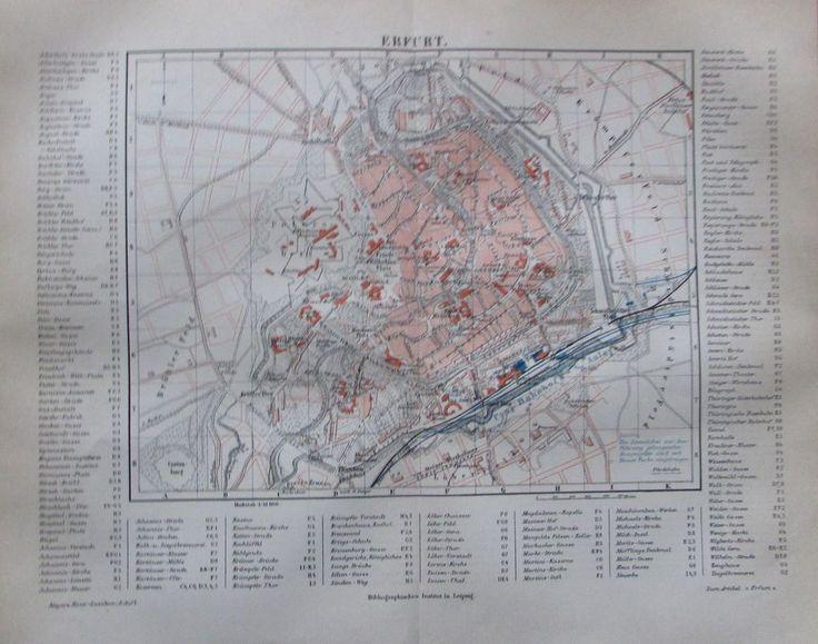 1889 ERFURT alter Stadtplan Antique City Map