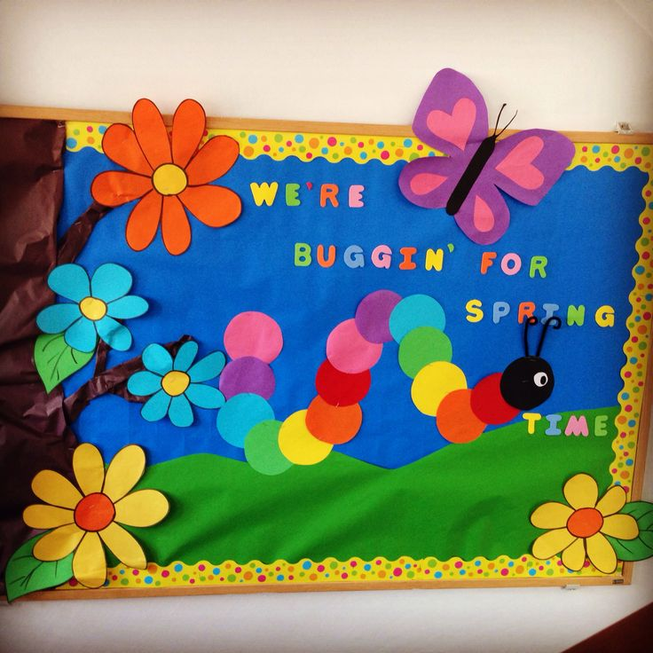 Spring bulletin boards kindergarten of cambridge school for Diario mural en ingles