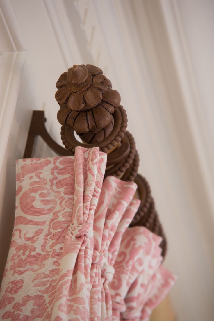 rose pink and ivory damask pinch pleated draperies. Custom draperies DesignNashville.com shipping world wide