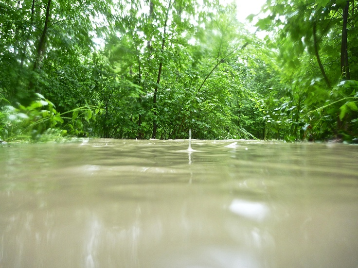 After days of torrential rains the ground can't keep up and practically stops absorbing the masses of water.