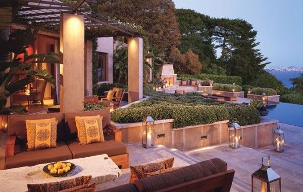 Restoration Hardware chairman, CEO and president Gary Friedman and his wife, designer Kendal Agins Friedman, collaborated with architect Howard Backin on the design of their expansive outdoor living areas for their home in Belvedere, California.