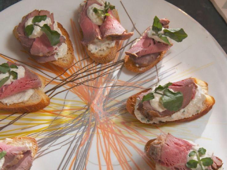 Beef Tenderloin Crostini recipe from Nancy Fuller via Food Network.  (Note the horseradish sauce).
