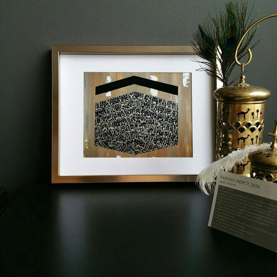 Print of my original painting titled: Raining Mercy  Arabic Calligraphy: AYAT UL KURSI  This modern Islamic art is great for your home, office or as gifts for your friends and family. The Story: This painting symbolizes the mercy that is showered on us when we visit the Holy Kaaba. The gold and silver symbolize the powerful Ayat ul Kursi which has said to be from the thresholds of Allahs throne. Prophet Muhammad pbuh said, I have been given Ayat ul Kursi from the treasures under the Arsh of…