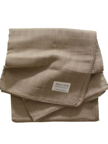 Yoli and Otis Artesian Blanket in Heena Brown – Salt Living or online at www.saltliving.com.au #saltliving #yoliandotis #organic #baby #blanket