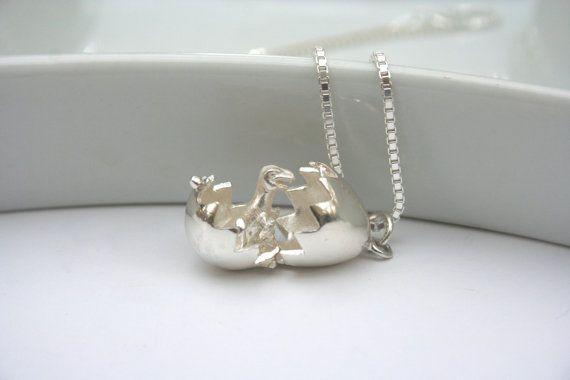 Sterling Silver Dinosaur Egg Necklace by 2BeadingHeartsJewels Sterling silver jewellery Funky jewellery Dinosaur jewellery