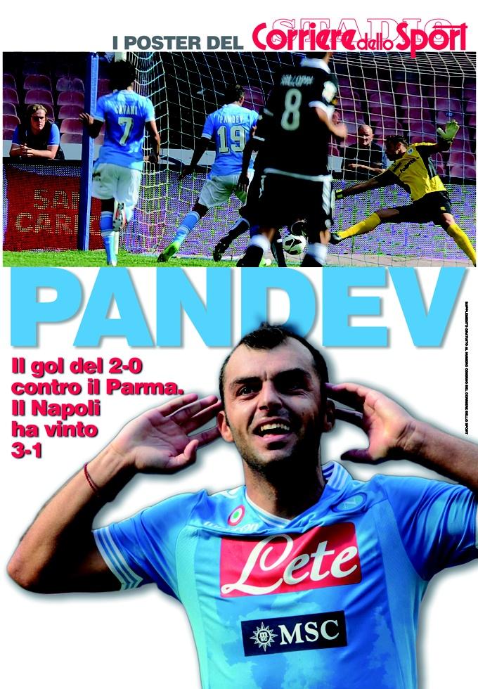 I poster del Corriere dello Sport Pandev. Domani 20