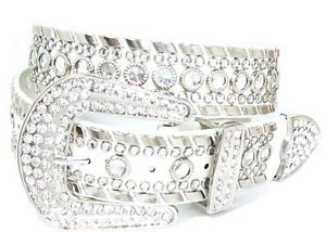 Bling Bling Cowgirl Belts | Bling Western Stud Rhinestone White Leather Belt Sz S | eBay