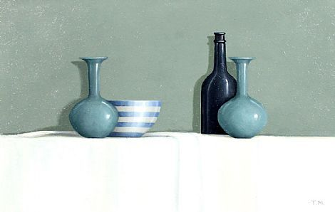Two Blue Vases, Coeruleum Hue, Oil on Board