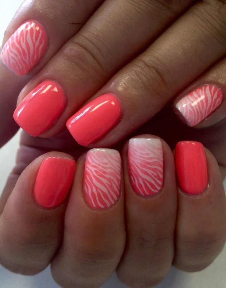 Coral and white nails, Coral nails, Elegant nails, Exquisite nails, Fashion nails 2016, Manicure by summer dress, Medium nails, Nail art stripes
