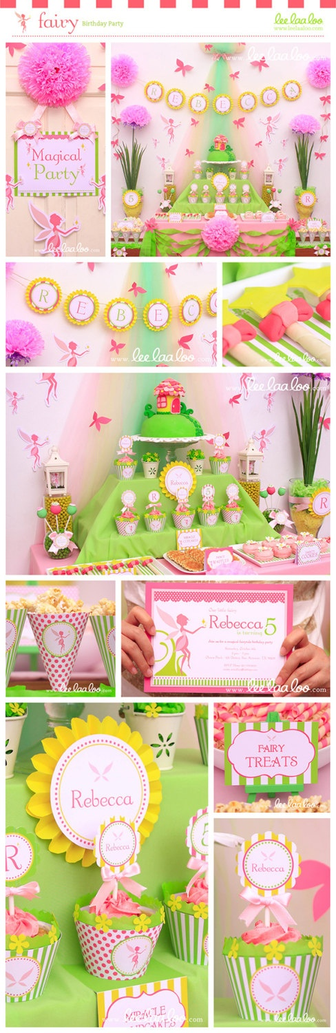 Fairy Garden Birthday Party Mega Set - PERSONALIZED PRINTABLE DIY - BX15x. $35.00, via Etsy.