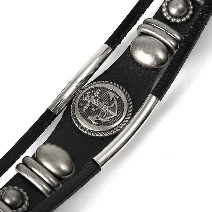 Vintage Leather Punk Anchor Men Bracelet Stainless Steel Bangle Chain at Banggood