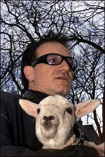 Irish rock band U2's lead singer Bono and guitarist Edge hold sheep after receiving the Freedom of the City at Dublin's St.Stephen's Green on March 1, 2000. Following an old Irish tradition, those who are given Dublin's freedom of the city, have the right to pasture their sheep at the central Dublin St.Stephen's Green. #u2newsactualite #u2newsactualitepinterest #u2 #bono #paulhewson #music #rock http://u2station.com/images/2000/03/freedom-of-dublin-award-march-18-2000.php