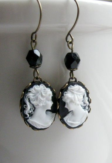 Lady cameo earrings black and white cameo in by botanicalbird