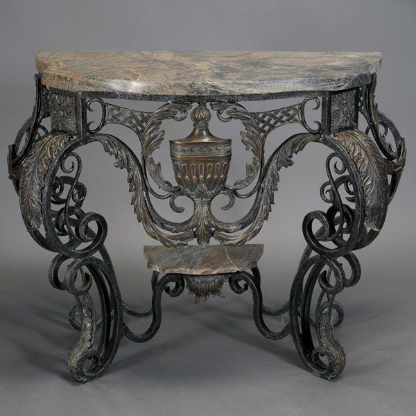 Art Deco Style Marble Top Wrought Iron Console