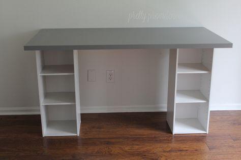 IKEA HACK Desk with Storage Shelves | Ikea desk, Diy furniture, Desk storage