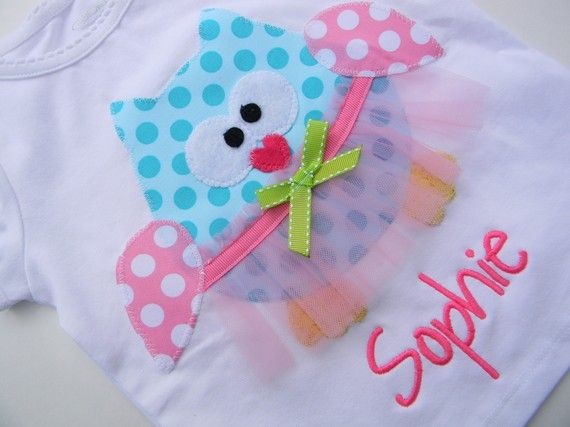 EXCLUSIVE Ballerina Owl Applique T Shirt for by BubbleBabys, $21.95